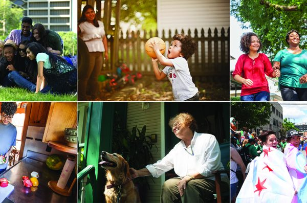 grid image of multiracial students, families, young adults and elderly community members
