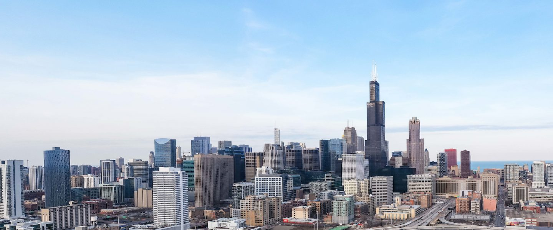 Chicago skyline facing east toward the lake