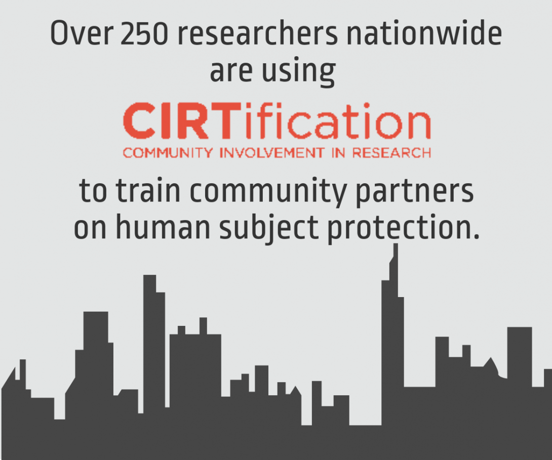 Infographic: Over 250 researchers nationwide are using CIRTification to train community partners on human subject protection