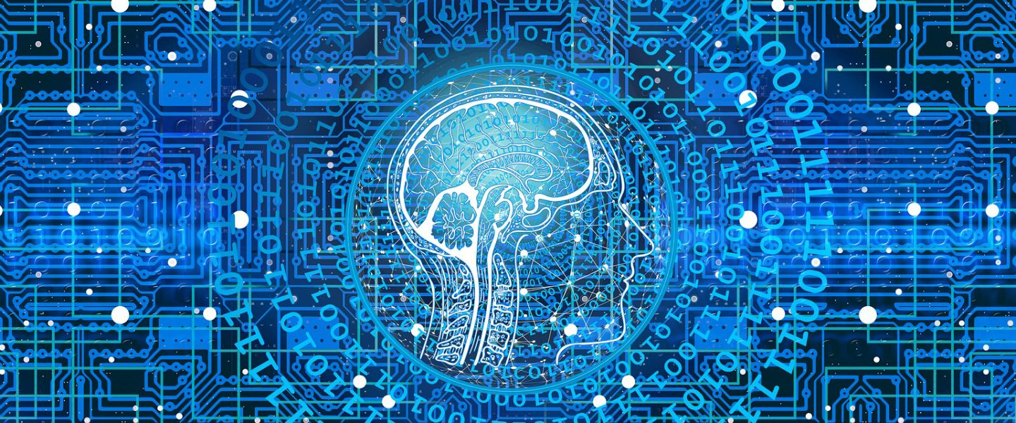 profile of a human brain surrounded by binary code and programming matrices
