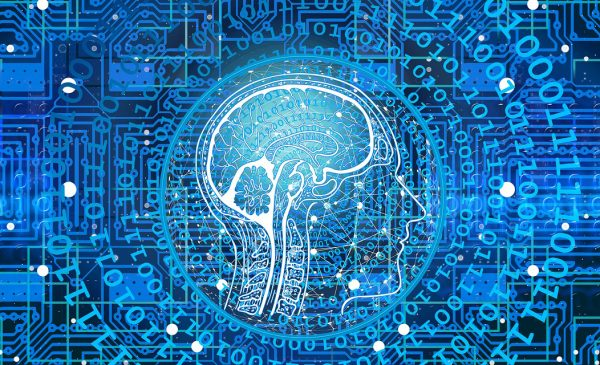 brain surrounded by binary code