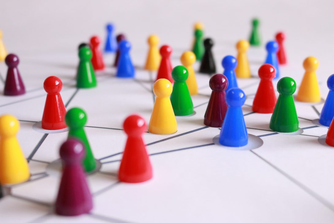 colorful game pieces on a network map