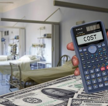 calculator and stacks of money with hospital room in background