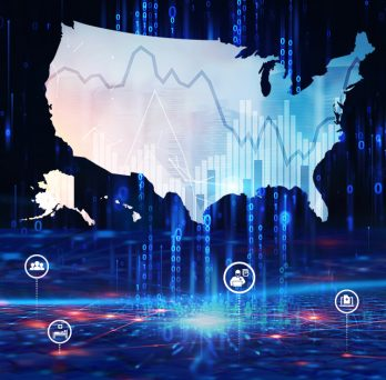 graphic of a united states map with data related icons around it