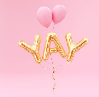 the word yay in balloon letters