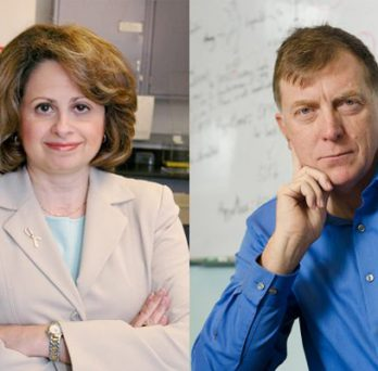 Debra Tonetti, UIC professor of pharmacology & Gregory Thatcher, the UIC Hans W. Vahlteich Chair of medicinal chemistr