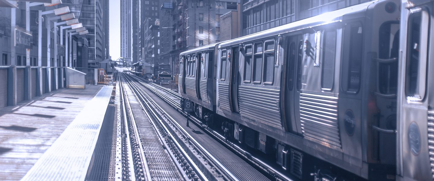 a chicago CTA train waiting at an el platform