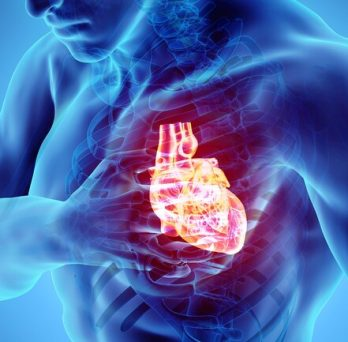 xray image of a man clutching a glowing heart