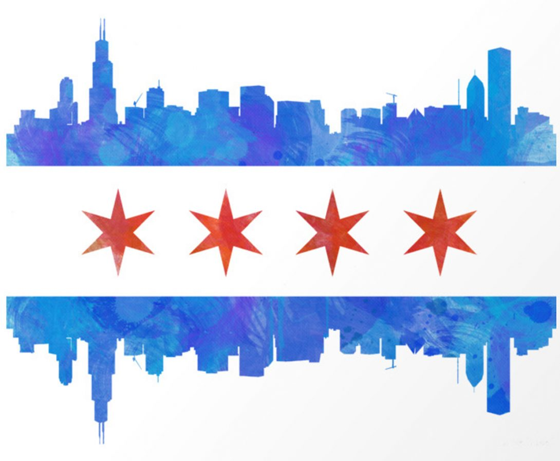 Chicago flag with blue skyline incorporated courtesy of Society6.com/mmaher327