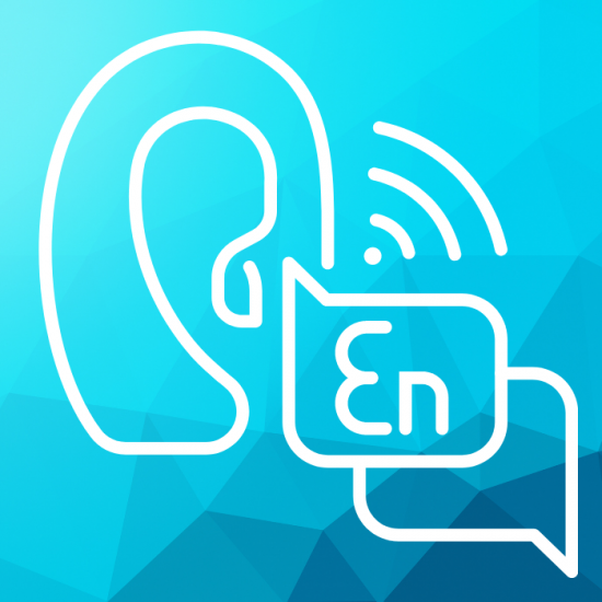 graphic ear listening to speech bubbles in another language