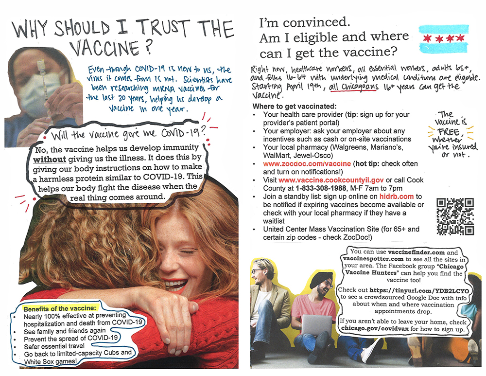 zine page spread showing people hugging, talking in hall with the headline why should I trust the vaccine?