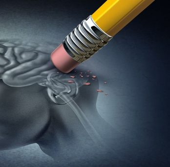 drawing of a head and brain being erased by a pencil