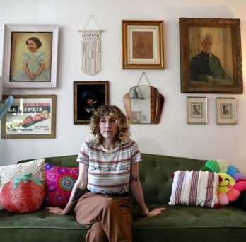 Blair Rohrbach at her home in Chicago on July 9, 2021. The 37-year-old experiences extreme fatigue, mental fog, vision issues and headaches because of long COVID-19. (Chris Sweda / Chicago Tribune)