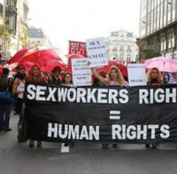 people at a march for sex workers' rights