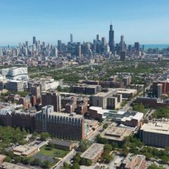 Drone shot of UIC's west campus