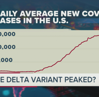 A chart that shows the daily average new COVID-19 cases in the United States, the New York Times