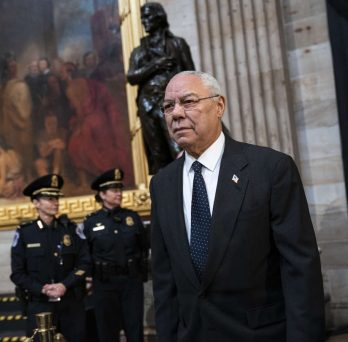 Provided by Mercury News 2018 photo: Former Secretary of State Colin Powell arrives to pay his respects at the casket of the late former President George H.W. Bush as he lies in state at the U.S. Capitol. (Photo by Drew Angerer/Getty Images)